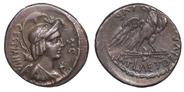 Ancient Coins - M. Plaetorius M.f. Cestianus 67 B.C. Denarius Rome Mint Good VF