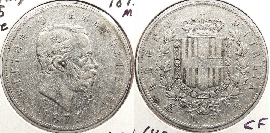 World Coins - ITALY: 1873-M BN 5 Lire