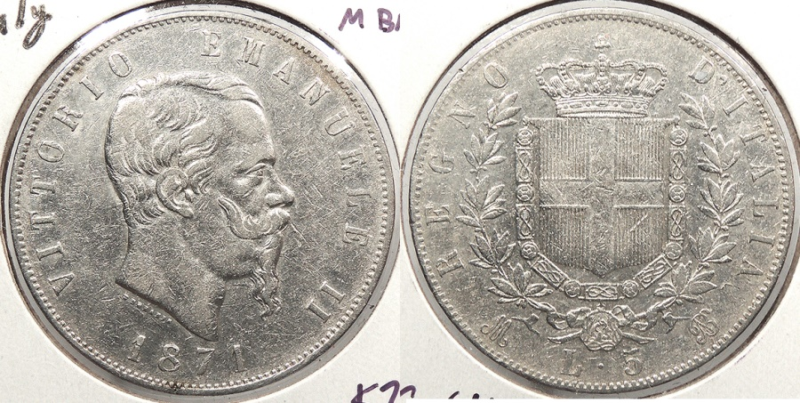 World Coins - ITALY: 1871-M BN 5 Lire