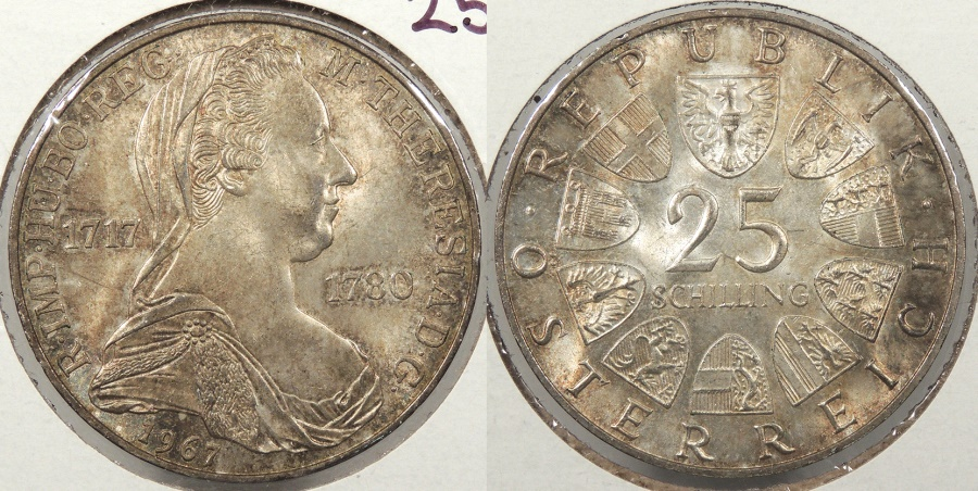 World Coins - AUSTRIA: 1967 Maria Theresa 25 Schillings #WC63861