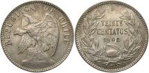 World Coins - CHILE: 1908 20 Centavos