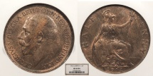World Coins - GREAT BRITAIN George V 1912 Halfpenny NGC MS-64 BN
