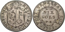 World Coins - SWISS CANTONS: Geneva 1791 6 Sols