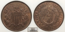 Us Coins - 1871 2 Cents NGC MS-65 BN