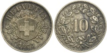 World Coins - SWITZERLAND: 1873-B 10 Rappen