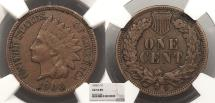 Us Coins - 1908 S Indian Head 1 Cent NGC AU-53 BN