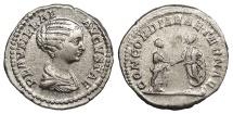 Ancient Coins - Plautilla, wife of Caracalla 202-205 A.D. Denarius Rome Mint Near EF