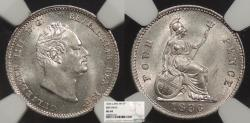 World Coins - GREAT BRITAIN William IV 1836 Fourpence NGC MS-64