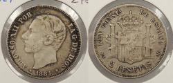 World Coins - SPAIN: 1884 2 Pesetas
