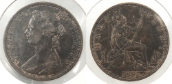 World Coins - GREAT BRITAIN: 1891 1/2 Penny