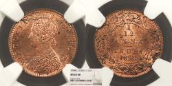 World Coins - INDIA Victoria 1898 1/12 Anna NGC MS-63 RB