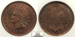Us Coins - 1901 Indian Head 1 Cent NGC MS-65 BN