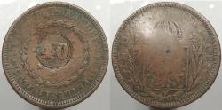 World Coins - BRAZIL: ND (1835) Countermark on 1831-R 80 Reis 40 Reis