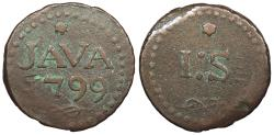 World Coins - NETHERLANDS EAST INDIES Java Batavian Republic 1799 Stuiver VF