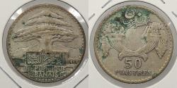 World Coins - LEBANON: 1929 50 Piastres