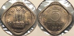World Coins - INDIA: 1966 (B) 5 Paise