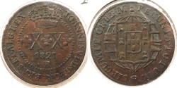 World Coins - BRAZIL: 1821-R 20 Reis