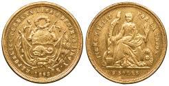 World Coins - PERU 1863-LIMA YB 5 Soles AU