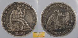 Us Coins - 1858 Seated Liberty 50 Cents (Half Dollar) ANACS VF-35