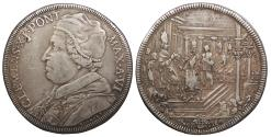 World Coins - ITALIAN STATES Papal States Clement XI Anno VI (1704) Piastra (Scudo of 80 Bolognini) VF
