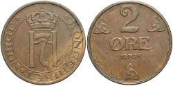 World Coins - NORWAY: 1928 2 Ore