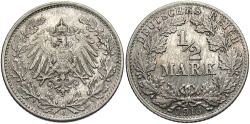 World Coins - GERMANY: 1918-J 1/2 Mark