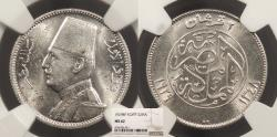 World Coins - EGYPT Faud I 1929 / AH 1348 2 Piastres NGC MS-62
