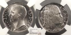 World Coins - ITALY Vittorio Emanuele III 1936-R Yr.XIV 20 Centesimi NGC MS-65
