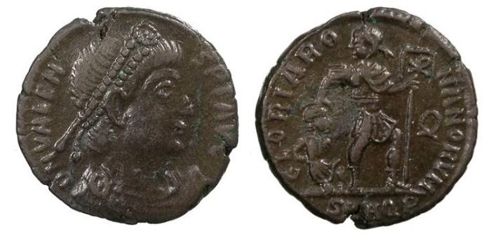 Ancient Coins - Valens 364-378 A.D. Follis Aquileia Mint Good VF