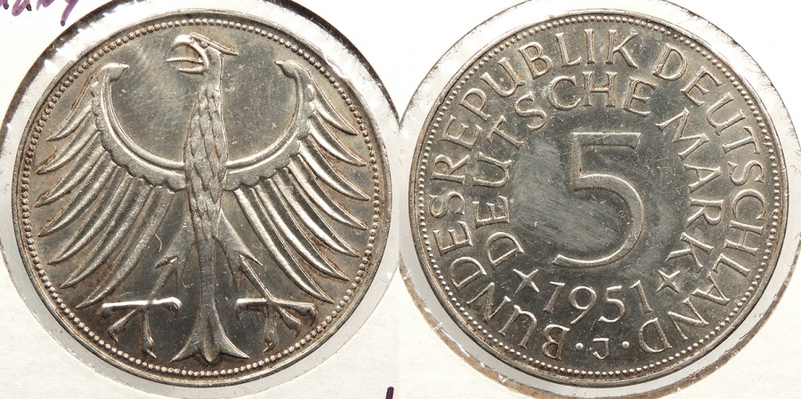 World Coins - GERMANY: West Germany 1951-J 5 Marks