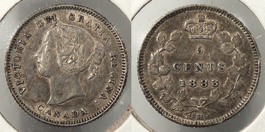 World Coins - CANADA: 1883-H 5 Cents #WC63885