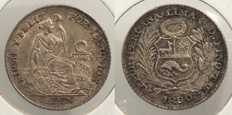 World Coins - PERU: 1890 1/2 Dinero #WC63505