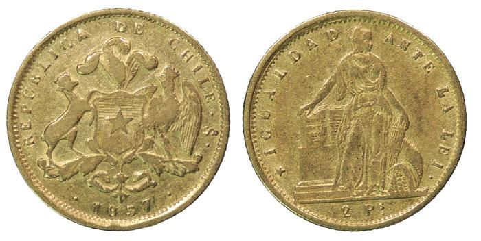 World Coins - CHILE 1857 2 Pesos VF