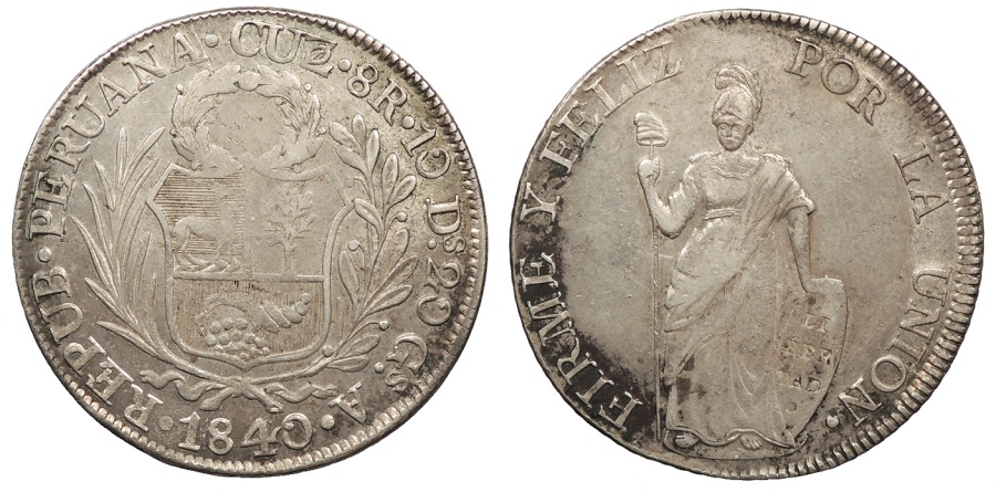 World Coins - PERU 1840-Cuzco A 8 Reales AU