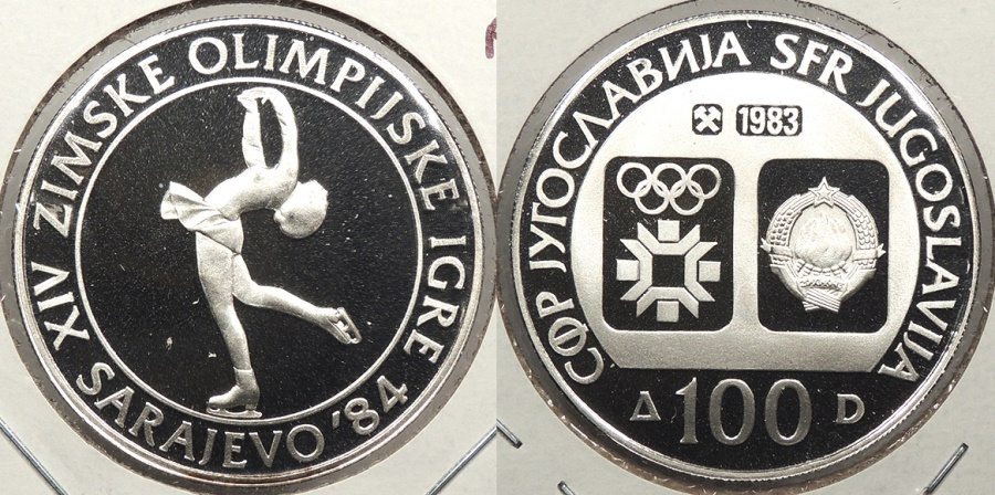 World Coins - YUGOSLAVIA: 1983 1984 Olympics Figure Skating proof 100 Dinara