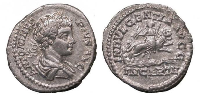 Ancient Coins - Caracalla 198-217 A.D. Denarius Rome Mint Good VF