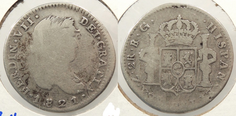 World Coins - MEXICO: Zacatecas 1821-RG 2 Reales