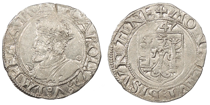 World Coins - FRANCE Besançon Charles V, as Holy Roman Emperor 1530-1556 Blanc EF