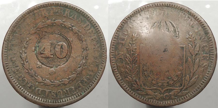 World Coins - BRAZIL: ND (1835) Countermark on 1831-R 80 Reis 40 Reis