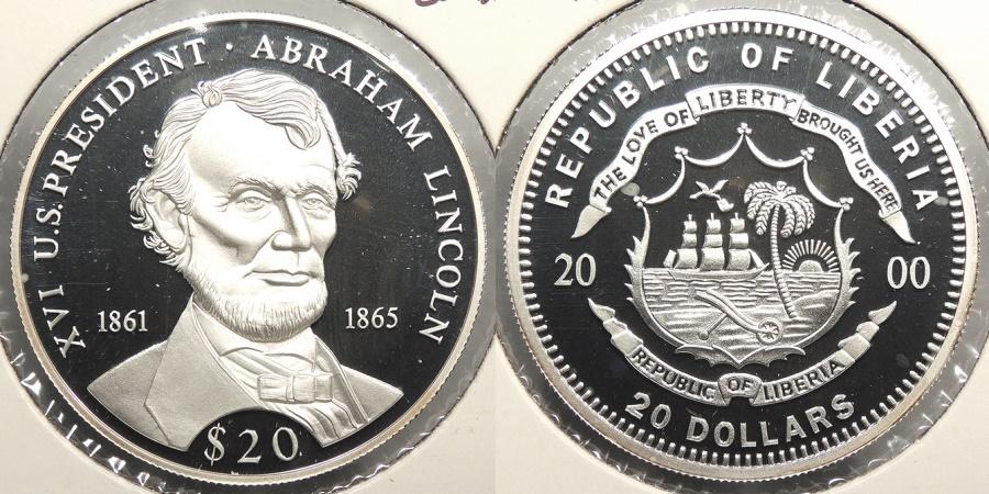 World Coins - LIBERIA: 2000 20 Dollars Proof