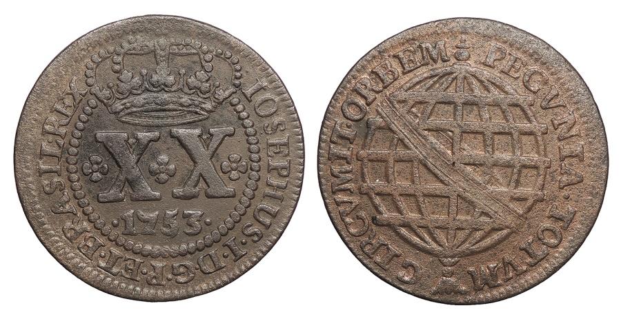 World Coins - BRAZIL Jose I 1753 20 Reis EF