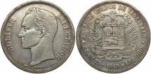 World Coins - VENEZUELA: 1910 5 Bolivares