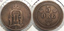 World Coins - SWEDEN: 1888 Mintage 214,411 5 Ore