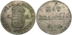 World Coins - HUNGARY: 1849 NB War of Independence 6 Krajczar