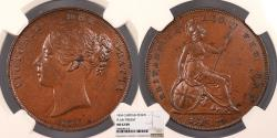 World Coins - GREAT BRITAIN Victoria 1854 Penny NGC MS-62 BN
