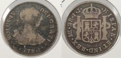 World Coins - PERU: 1790-LIMAE IJ Charles IV 2 Reales