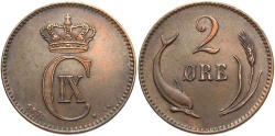 World Coins - DENMARK: 1875 2 Ore