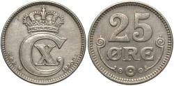 World Coins - DENMARK: 1920 25 Ore
