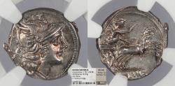Ancient Coins - Anonymous 157-156 B.C. Denarius Rome Mint NGC Choice AU Ex Stack's Public Auction Sale, June 14,15, 1971.