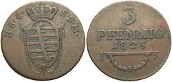 World Coins - GERMAN STATES: Saxe-Coburg-Saalfeld 1825 3 Pfennig